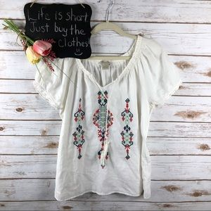 Lucky Brand white red navy embroidered top